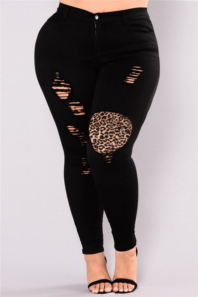 Plus Size Leopard Patchwork Distressed Jeans