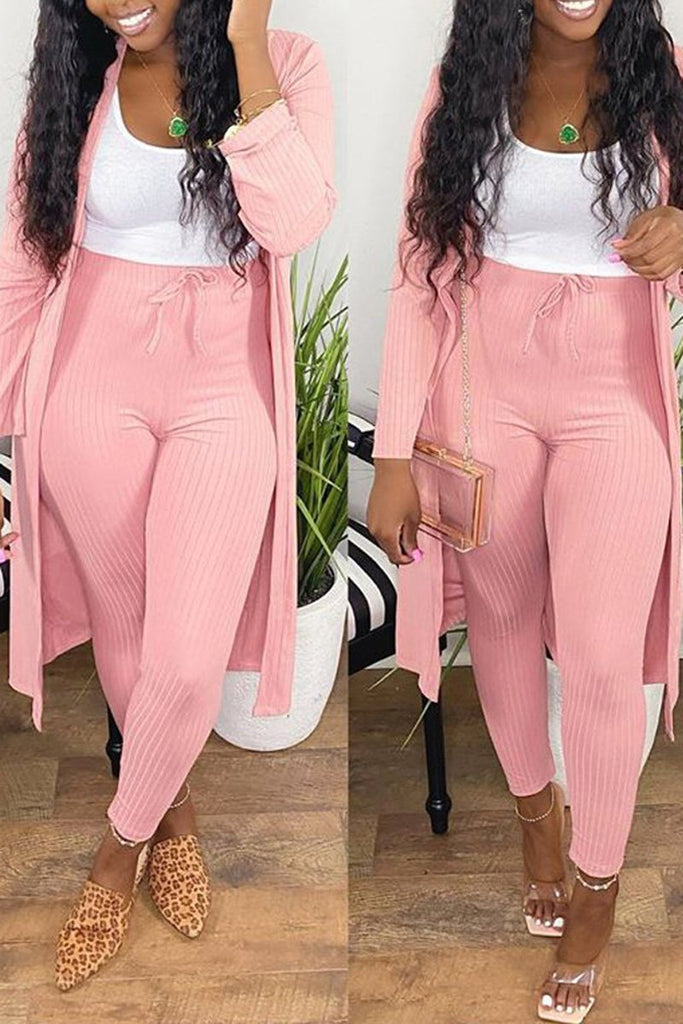 Solid Color Drawsting Waist Two Piece Sets