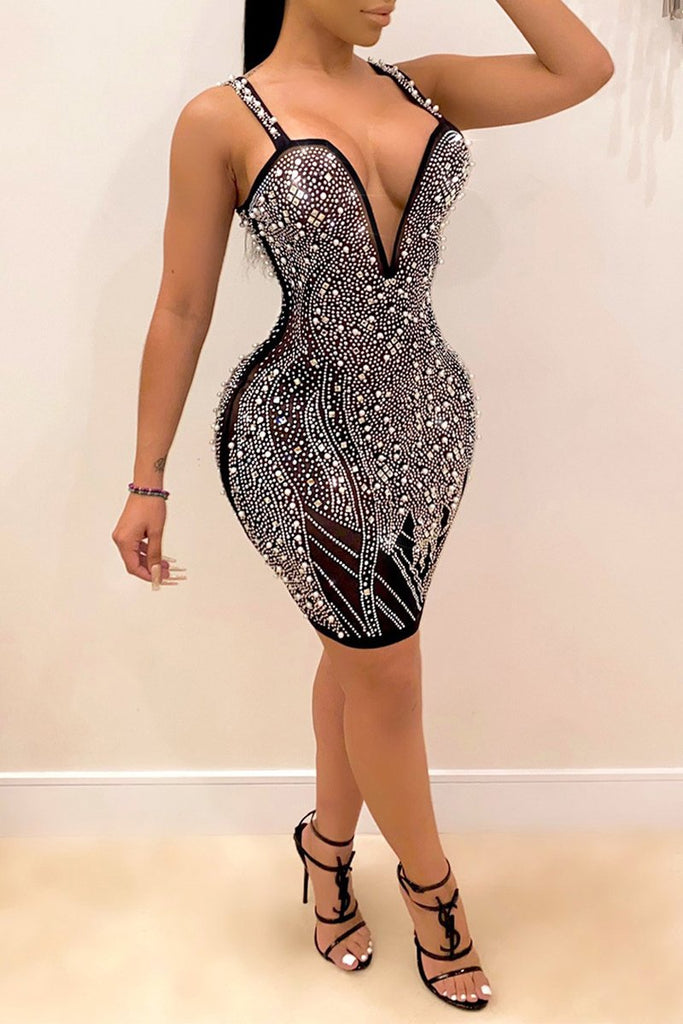 Halter Hot Drilling Deep V-Neck Mini Dress
