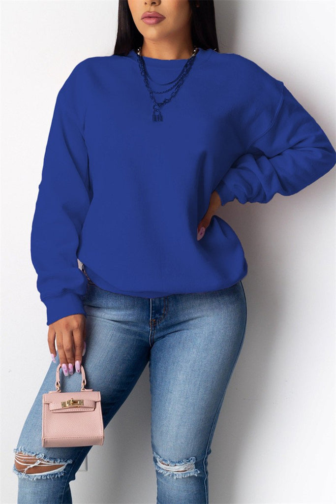 Solid Color Long Sleeve Casual Sweatshirt