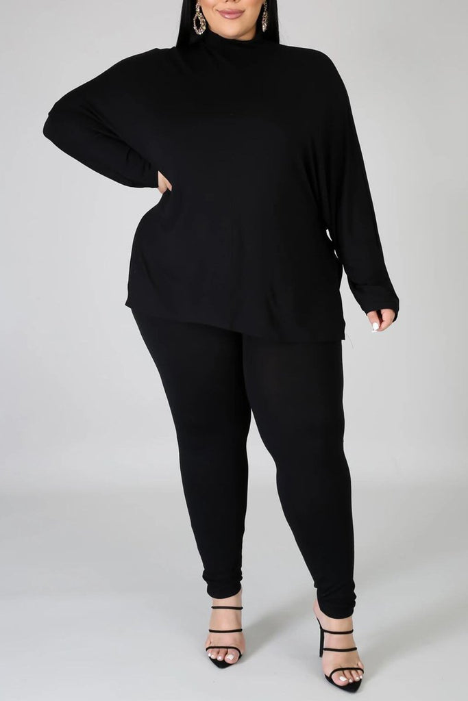 Plus Size Solid Color Side Slit Top & Pants