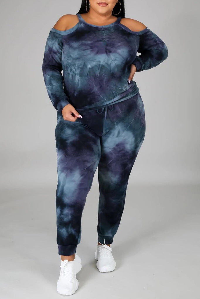 Plus Size Tie Dye Off The Shoulder Top & Pants