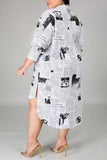 Newspaper Print Plus Size Irregular Shirt Dress