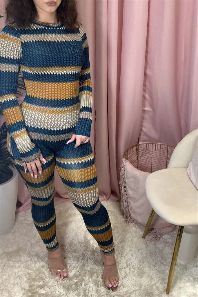 Stripe Print Long Sleeve Skinny Jumpsuit