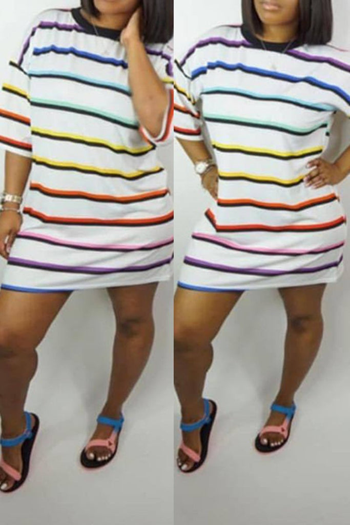 Rainbow Striped Half Sleeve Casual Mini Dress