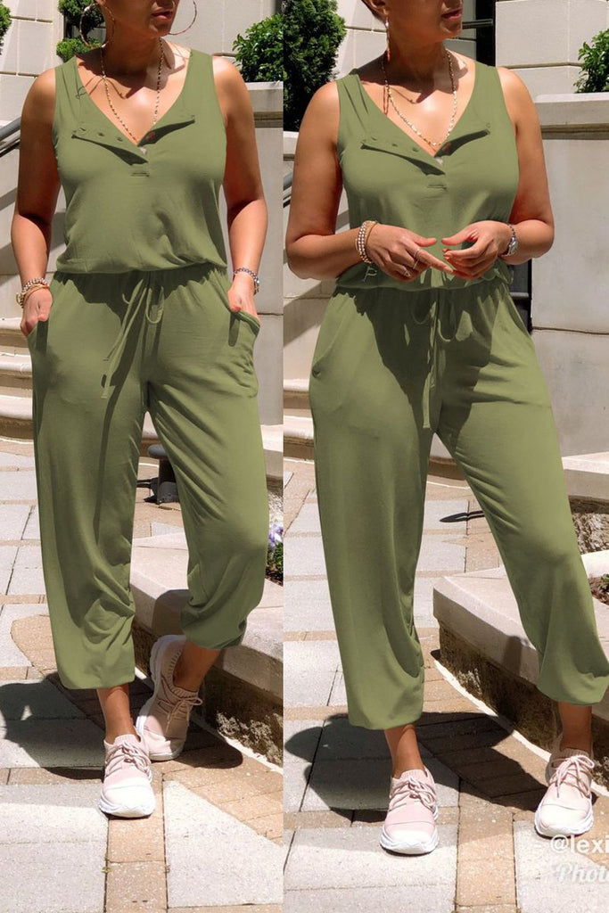 Sleeveless Drawstring Waist Solid Color Jumpsuit
