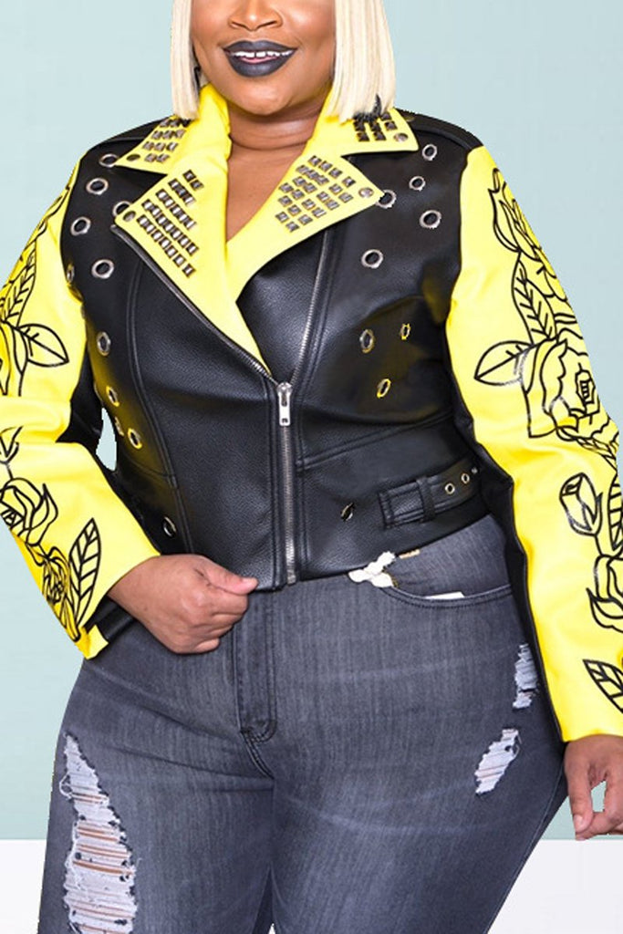 Plus Size Letter Print Rivet PU Jacket