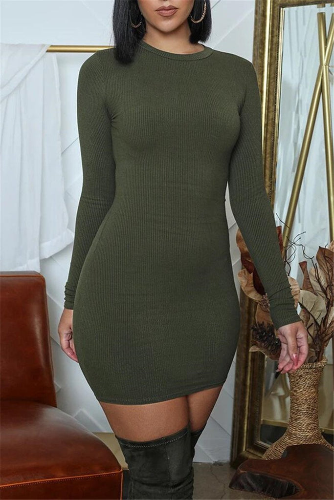 Solid Color Long Sleeve Mini Dress