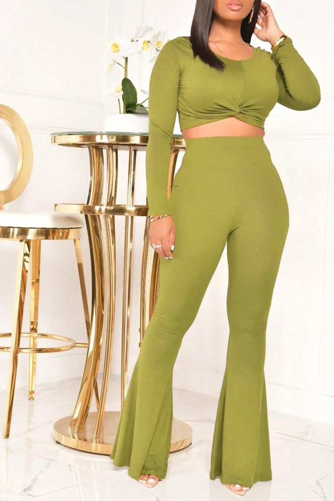 Solid Color Twisted Long Sleeve Two Piece Sets