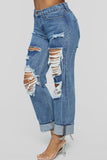 Plus Size Denim Hole Distressed Beading Jeans