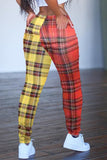 Lattice Print Color Patchwork High Waist Pants