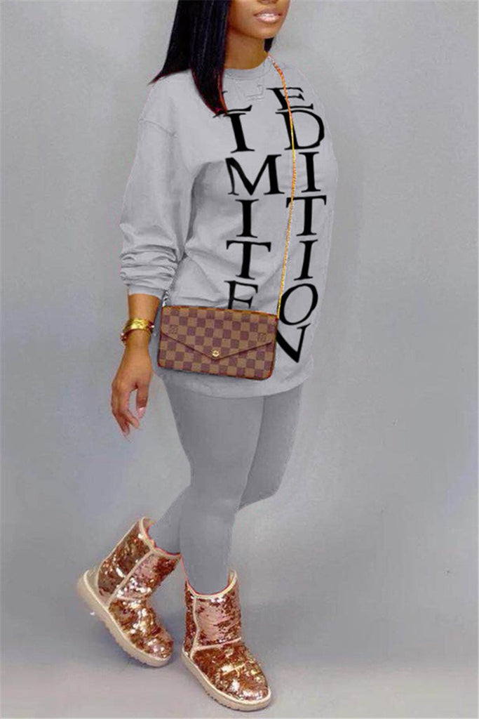 Letter Print Long Sleeve Casual Two Piece Sets
