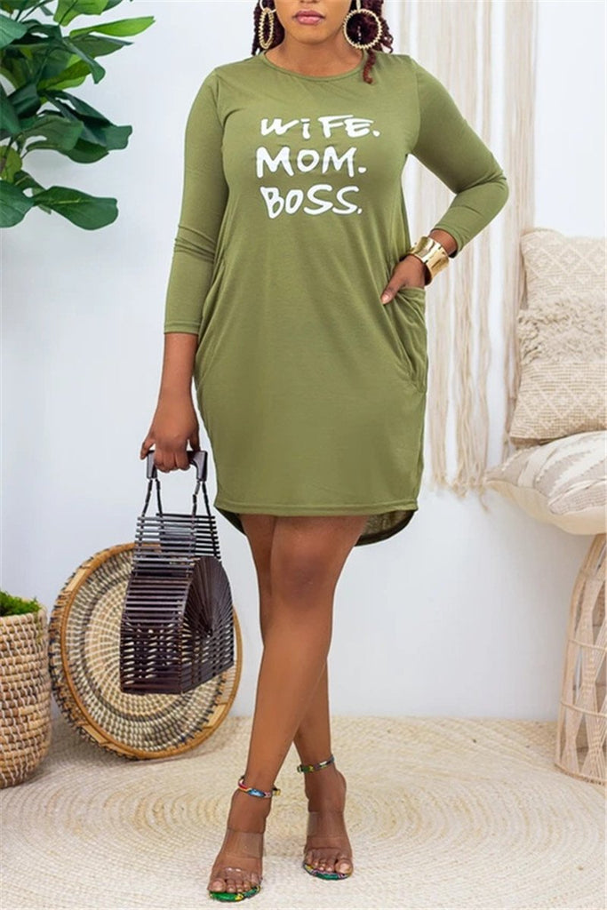 Letter Print Long Sleeve Pocket Casual Dress