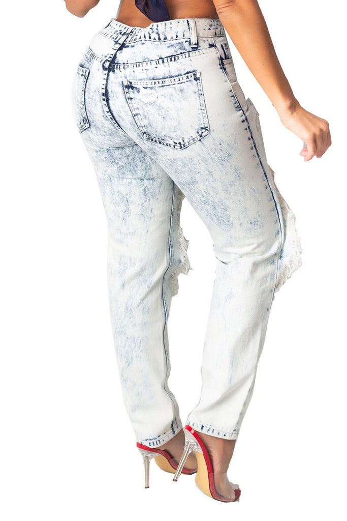 Denim Hole Distressed Printed Jeans