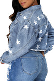 Star Print Denim Pocket Jacket