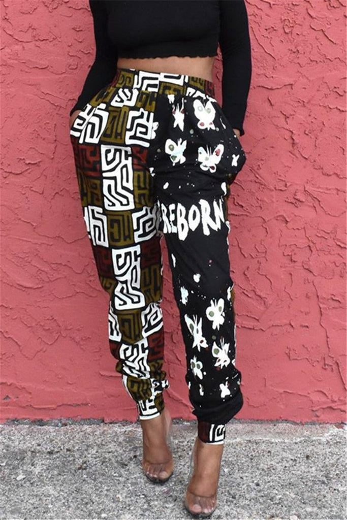 Printed High Waist Patchwork Pants