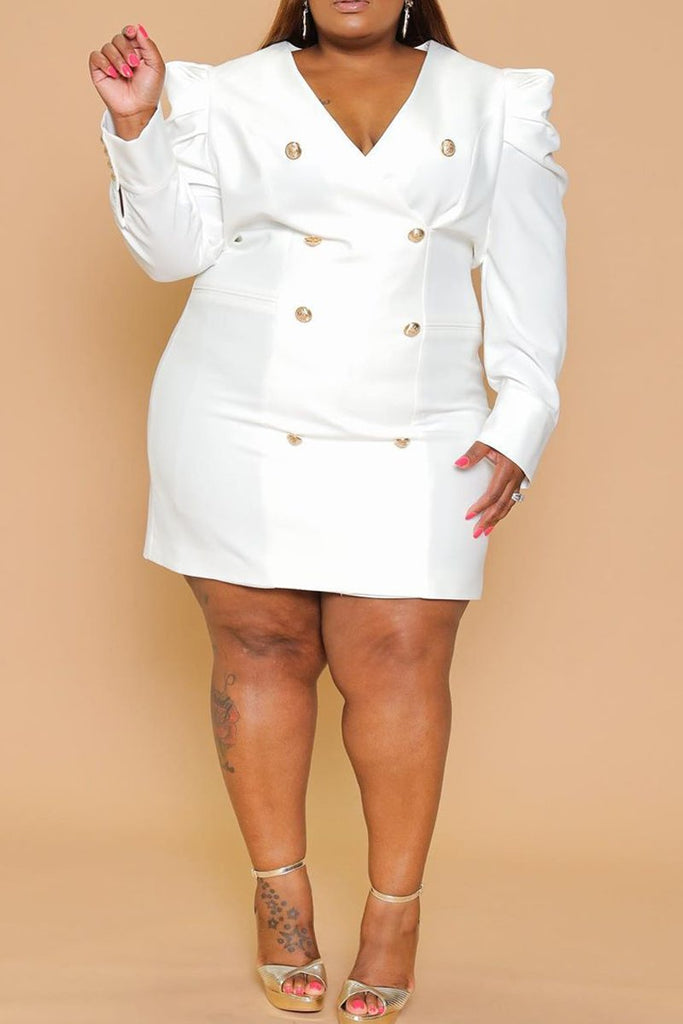 Plus Size Button Up Puff Sleeve OL Dress