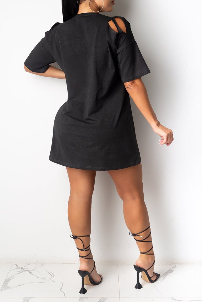 Chain Strapped Hole Solid Mini Dress