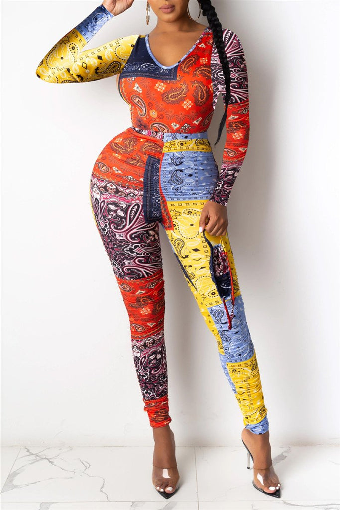 Printed Long Sleeve Skinny Two Piece Sets