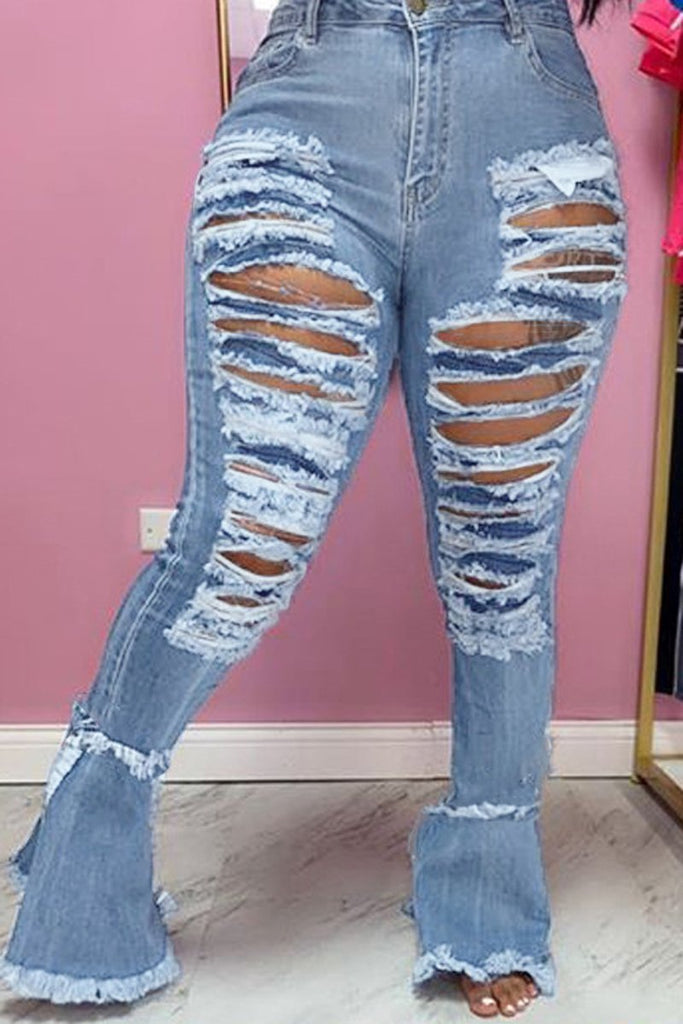 Denim Hole Distressed Flared Jeans