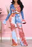 Tie Dye Button Up Flared Sleeve Two Piece Sets