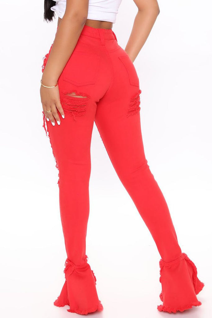 Solid Color Hole Distressed Flared Jeans