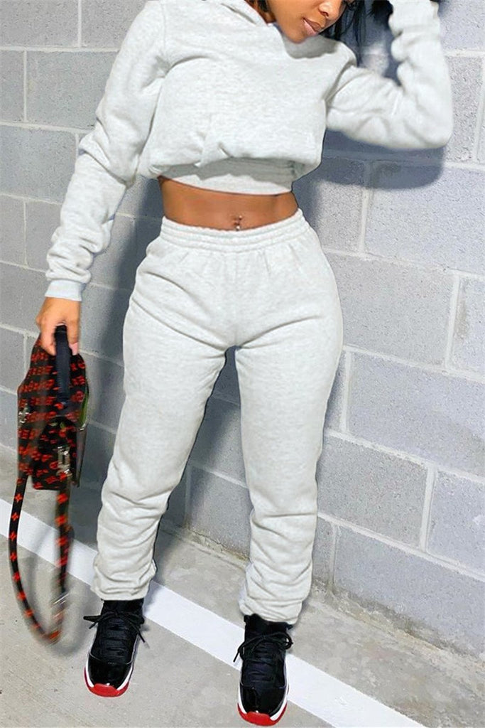 Lace Up Hooded Collar Solid Two Piece Sets