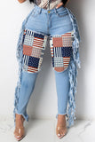 Plus Size Printed Denim Tassel Jeans