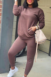Solid Color Pocket Long Sleeve Two Piece Sets