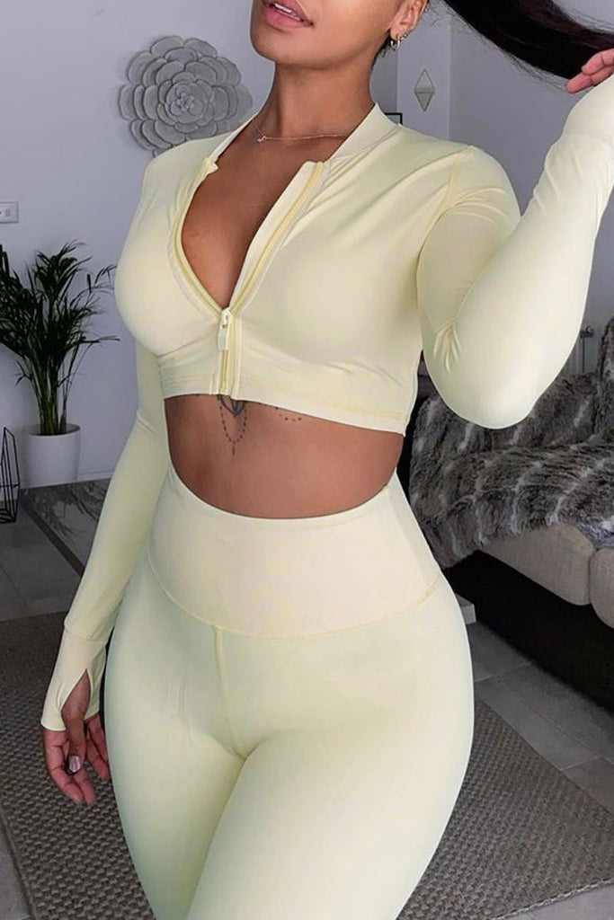 Solid Color Zipper Collar Two Piece Sets