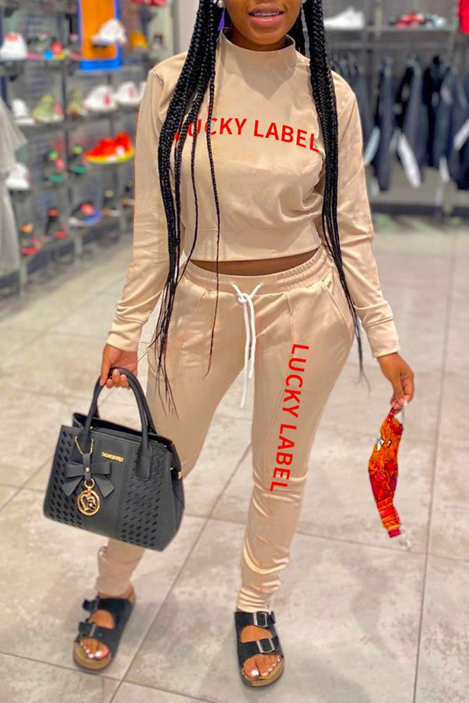 Letter Print High Neck Drawstring Two Piece Sets