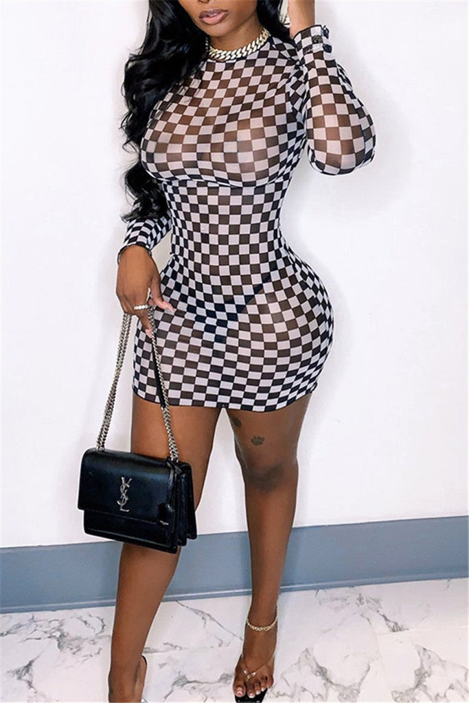 Checkerboard Print See Through Long Sleeve Dress