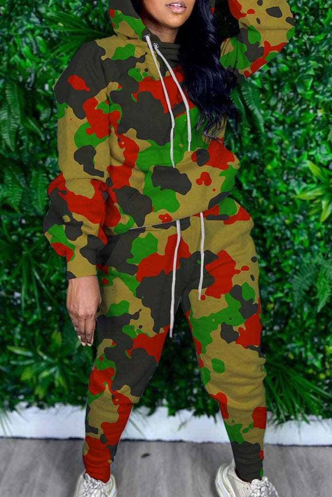 Camouflage Print Hooded Collar Two Piece Sets