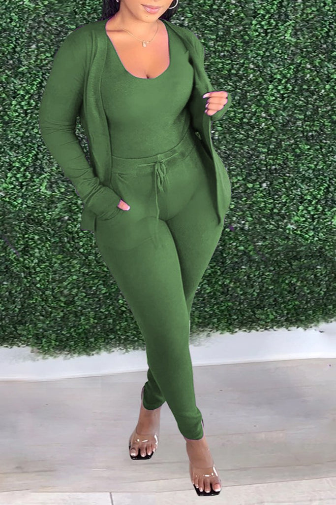 Solid Color Scoop Neck Three Piece Sets