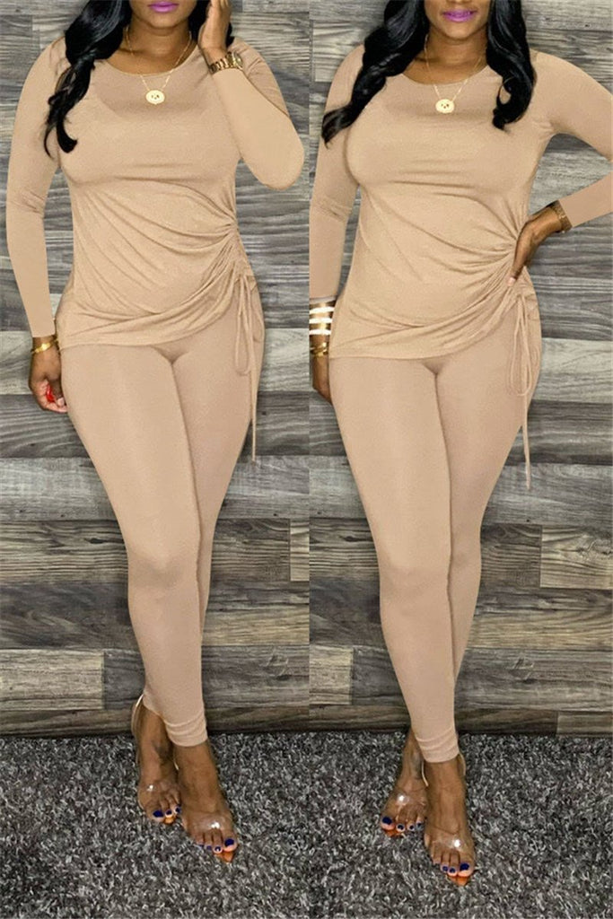 Solid Color Long Sleeve Drawstring Two Piece Sets