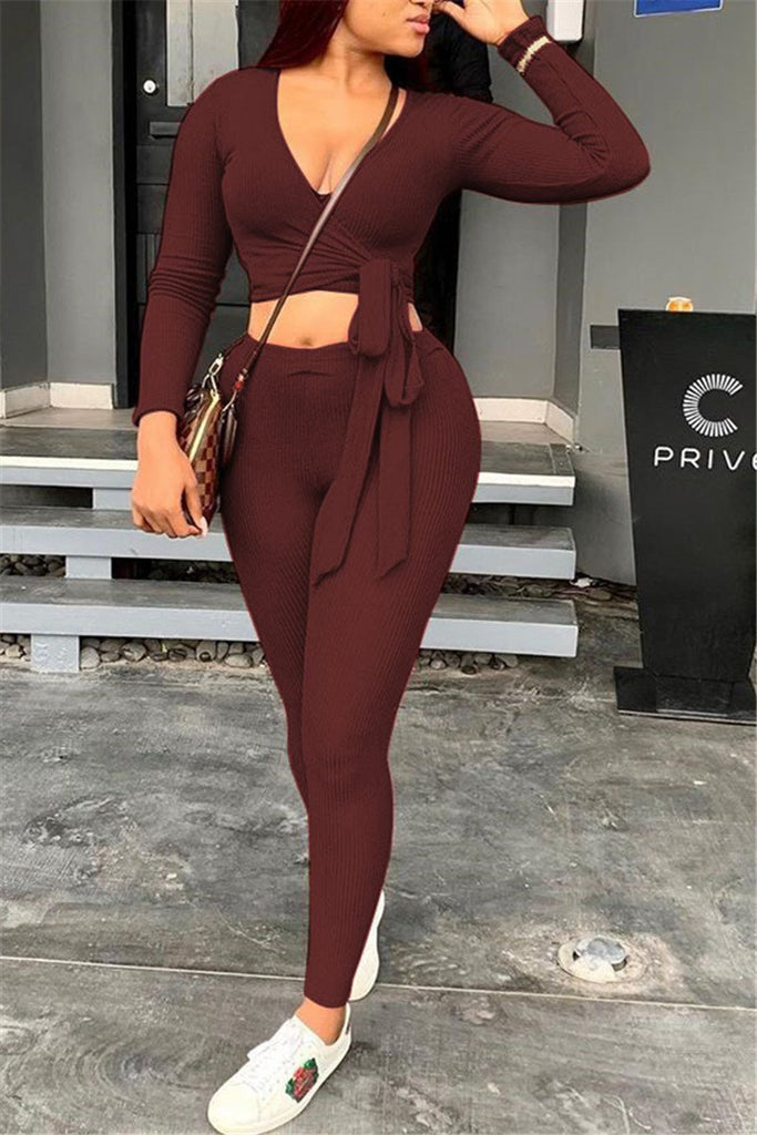 Tie Up Solid Color Long Sleeve Two Piece Sets