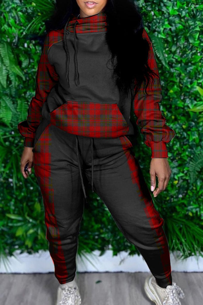 Plaid Print Hooded Collar Pocket Two Piece Sets