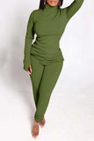 Side Slit Long Sleeve Solid Two Piece Sets