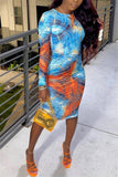 Printed Long Sleeve Sheath Dress