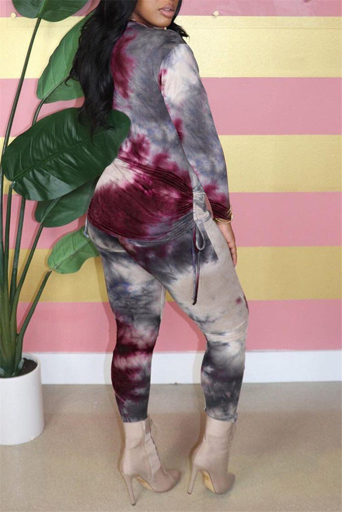 Tie Dye Print Long Sleeve Drawstring Two Piece Sets