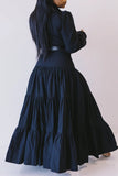 Solid Color Lapel Button Tiered Maxi Dress