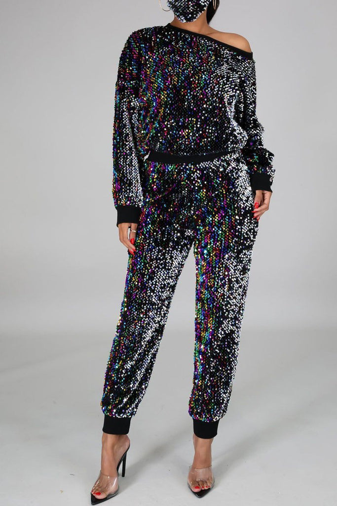 Sequined Round Neck Long Sleeve Top & Pants