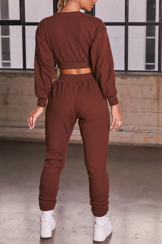 Solid Color Long Sleeve Two Piece Sets
