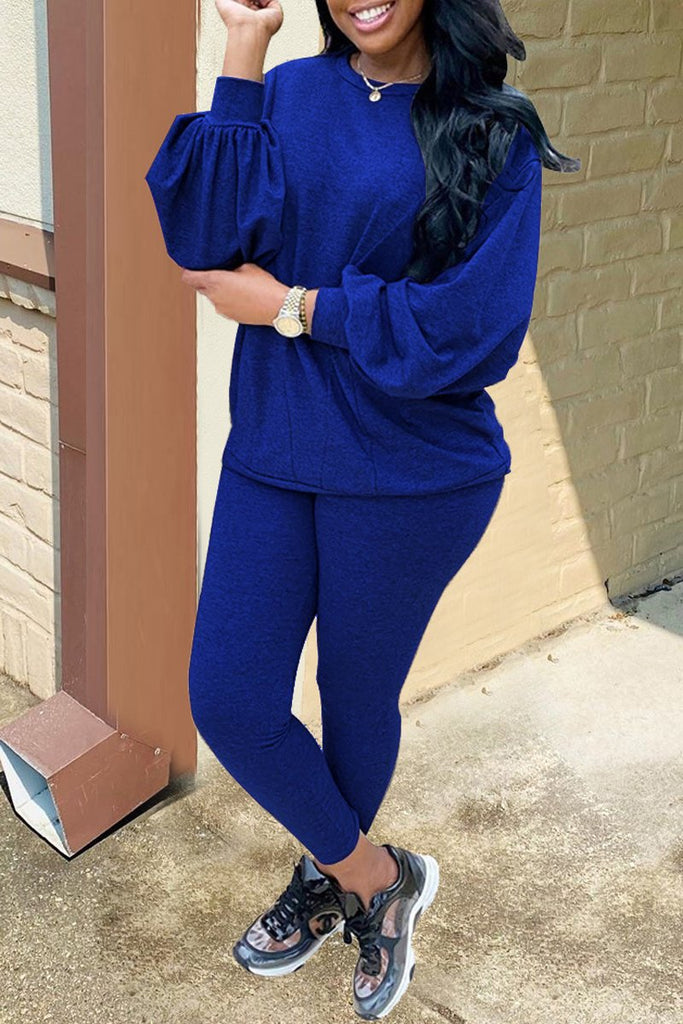 Plus Size Solid Color Puff Sleeve Two Piece Sets
