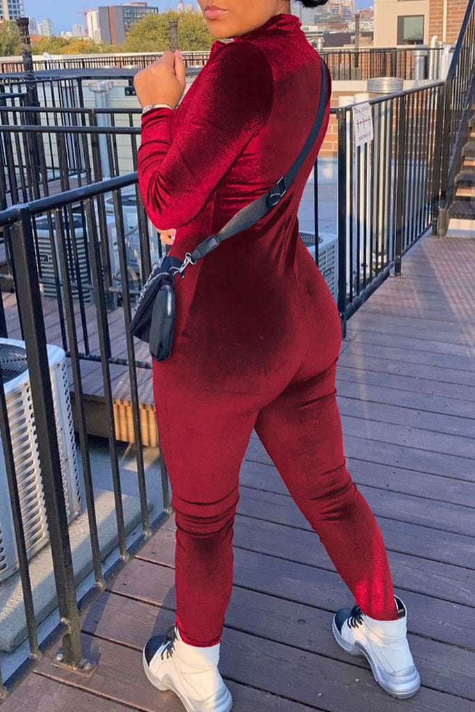 Solid Color Zipper Collar Long Sleeve Jumpsuit