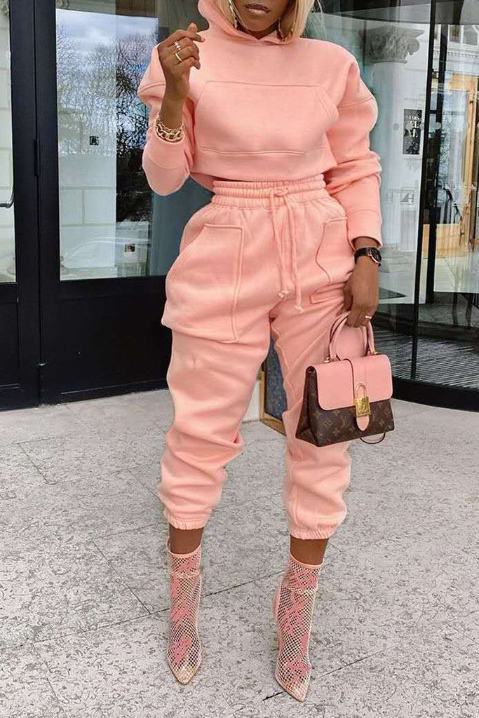 Hooded Collar Pocket Solid Two Piece Sets