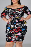 Plus Size Graffiti Printed Mini Dress