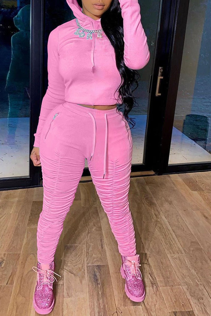 Pleated Solid Color Hooded Collar Two Piece Sets