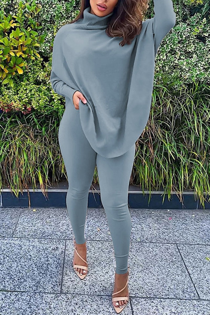 High Neck Batwing Sleeve Two Piece Sets