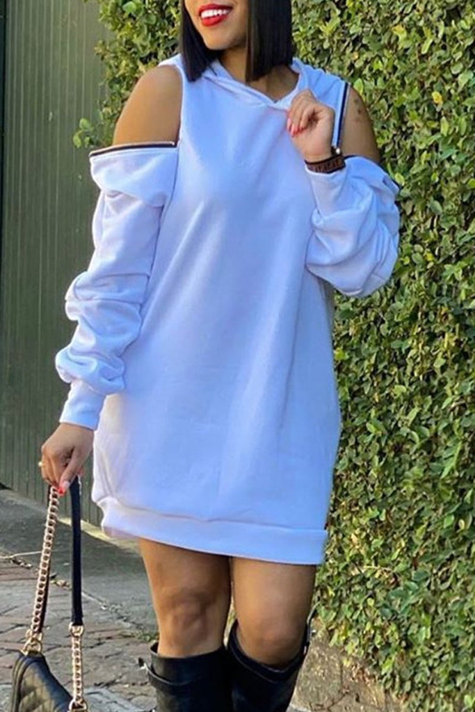 Zipper Cold Shoulder Solid Mini Dress